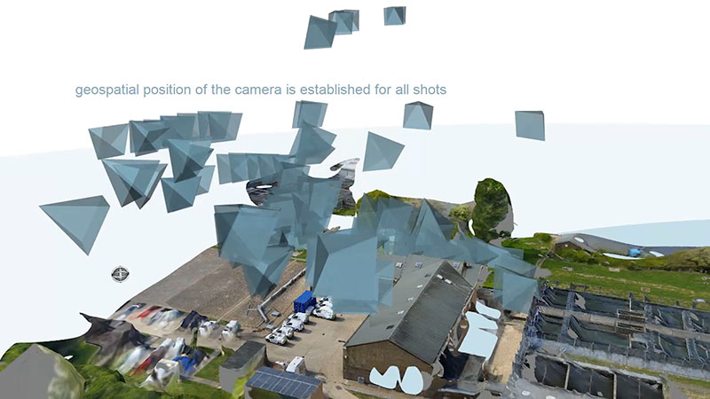 Geospatial positioning of each image is established