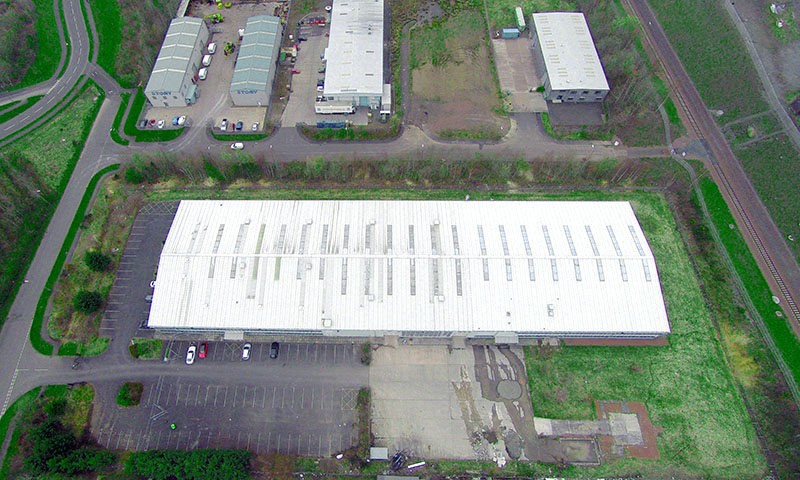 Drone photo of Nairn's Oatcakes factory in Edinburgh